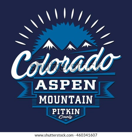 colorado mountain typography tshirt graphics vectors のベクター画像