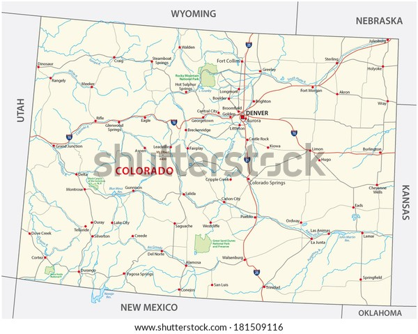 Colorado National Park Map Stock Vector (Royalty Free) 181509116