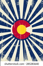Colorado retro sunbeams. A vintage colorado poster with sunbeams and a a texture for your advertising