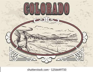 Colorado skyline hand drawn.Colorado sketch style vector illustration in vintage frame.