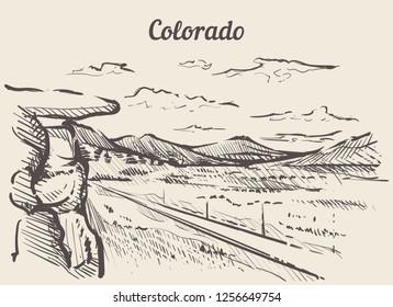 Colorado skyline hand drawn.Colorado sketch style vector illustration