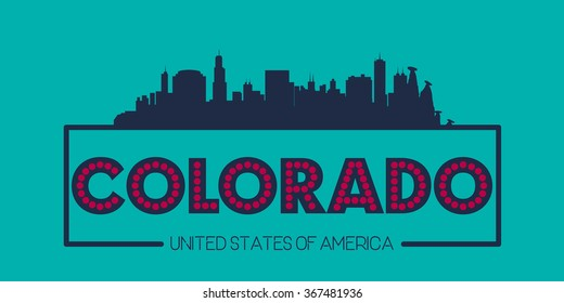 Colorado skyline silhouette poster vector design illustration
