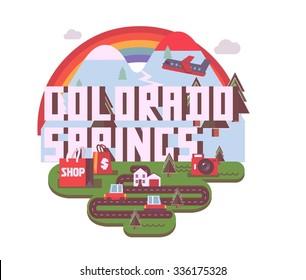 Colorado Spring destination brand logo. vector cartoon