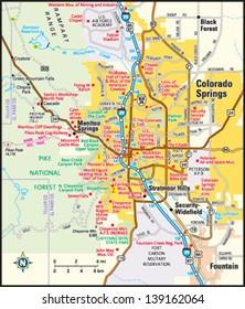 Colorado Springs, Colorado area map