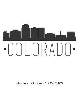 Colorado Springs. City Skyline. Silhouette City. Design Vector. Famous Monuments.
