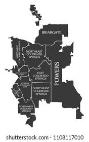 Colorado Springs CO city map USA labelled black illustration