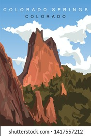 Colorado Springs modern vector poster. Colorado, landscape illustration.