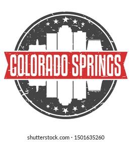 Colorado Springs Round Travel Stamp. Icon Skyline City Design. Seal Tourism.