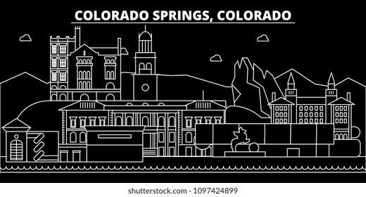 Colorado Springs silhouette skyline. USA - Colorado Springs vector city, american linear architecture. Colorado Springs travel illustration, outline landmarks. USA flat icon, american line banner