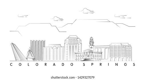 Colorado Springs skyline minimal linear vector illustration and typography design