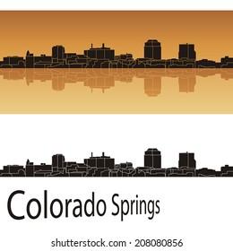 Colorado Springs skyline in orange background in editable vector file