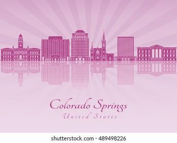 Colorado Springs skyline in purple radiant orchid in editable vector file