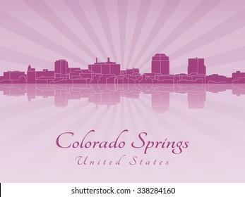 Colorado Springs skyline in radiant orchid in editable vector file