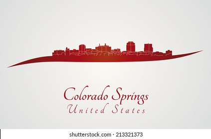 Colorado Springs skyline in red and gray background in editable vector file