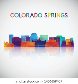 Colorado Springs skyline silhouette in colorful geometric style. Symbol for your design. Vector illustration.