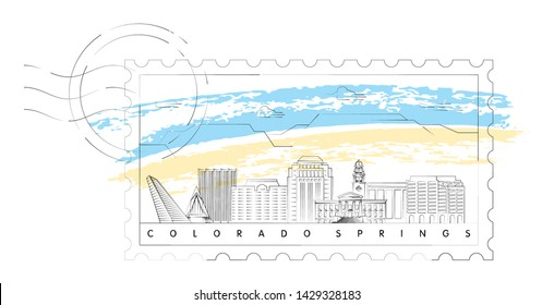 Colorado Springs skyline stamp vector illustration and typography design
