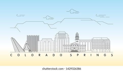Colorado Springs, Colorado skyline vector illustration and typography design