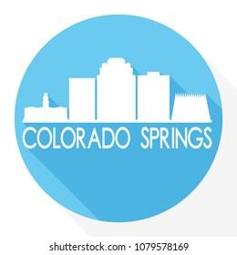 Colorado Springs USA Flat Icon Skyline Silhouette Design City Vector Art Famous Buildings