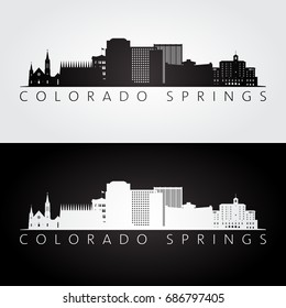 Colorado Springs USA skyline and landmarks silhouette, black and white design, vector illustration.