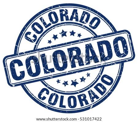 Colorado Stamp Blue Round Grunge Vintage Sign