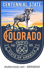 Colorado state emblem, the dawn on a blue background