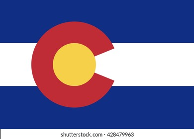 Colorado state flag, official colors and proportion correctly. National Colorado flag. Vector illustration. EPS10.