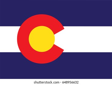 Colorado state flag official colors and proportion correctly or Colorado state flag of USA with vector illustration design or Colorado state flag of USA vector background