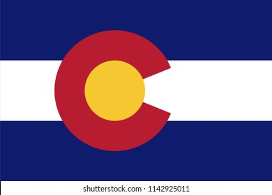 Colorado State Flag Seal Love Heart United States America American Illustration