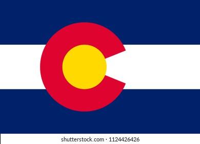 Colorado state flag. USA state symbol.Vector illustration
