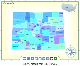 Colorado State Map with Community Assistance and Activates Icons Original Illustration