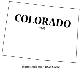 A Colorado state outline with the date of statehood isolated on a white background