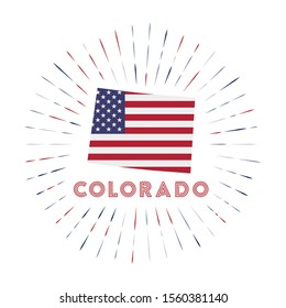 Colorado sunburst badge. The us state sign with map of Colorado with American flag. Colorful rays around the logo. Vector illustration.