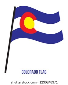 Colorado (U.S. State) Flag Waving Vector Illustration on White Background. Flag of the United States of America.