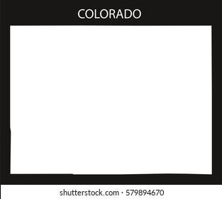 Colorado USA Map black inverted silhouette