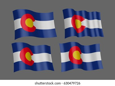 Colorado vector flags. A set of 4 wavy 3D flags. Design Element. Isolated on gray background.