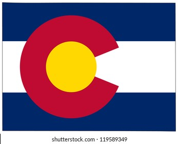 Colorado vector map with the flag inside.