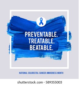COLORECTAL Cancer Awareness Creative Grey and Blue Poster. Brush Stroke and Silk Ribbon Symbol. National Colon Cancer Awareness Month Banner. Brush Stroke and Text. Medical Square Design.