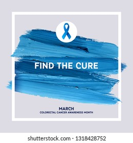 Colorectal Cancer Awareness Poster. Creative Brush Stroke and Silk Ribbon Symbol. World March Colorectal Cancer Awareness Month Banner. Medical Design Elements with Grunge Texture