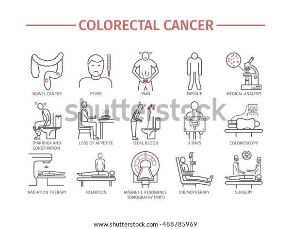 Colorectal Cancer Symptoms Diagnostics Line Icons Stock Vector Royalty Free 488785969