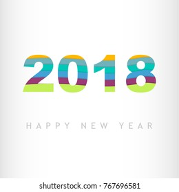 Colored 2018 typography on white background