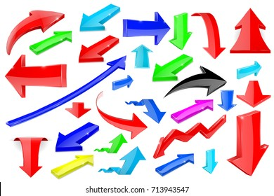 Colored 3d arrows. Shiny icons. Vector illustration isolated on white background