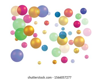 Colored 3d balls confetti falling. Vector illustration poster. Magic element of your design. Colorful invitation template background image, poster or greeting card.