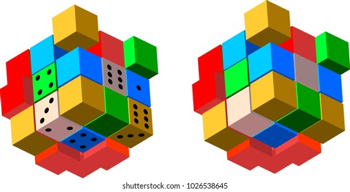Colored 3d cubes shapes abstract vector illustration on white background