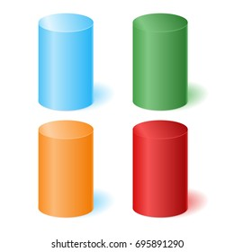 Colored 3D cylinders with a shadow. Vector illustration.