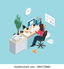 Colored 3d office workplace isometric composition with woman sitting at a computer vector illustration