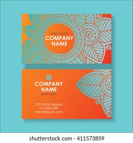 Colored abstract business card template, front page and back page. Hand drawn vector illustration