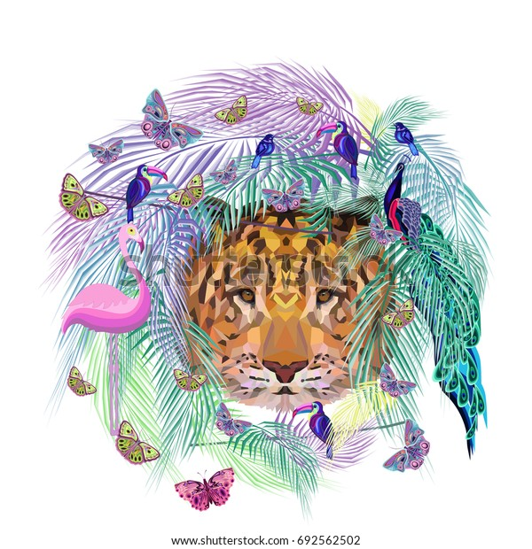 Colored abstract pattern with exotic animals, vector illustration, botanical summer pattern, tiger head, butterflies, peacock, flamingo, toucans, small blue birds, palm leaves