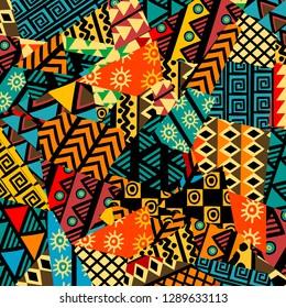 Farbiger afrikanischer Patchwork-Hintergrund mit afrikanischen Motiven