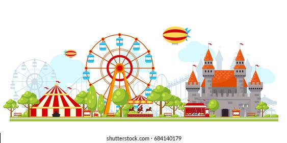 Colored amusement park composition with entertainment for children ferris wheel and castles vector illustration