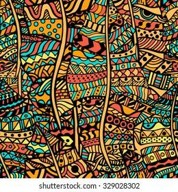 Padrão artístico colorido. Desenho à mão, étnico, floral, retro, doodle, vector, elemento de design tribal zentangle. Padrão para livro de colorir.